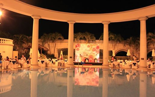 Romantic buffet dinner by pool at Sunrise hotel