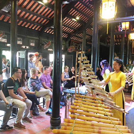 Watching Vietnamese traditional musical instrument performances.