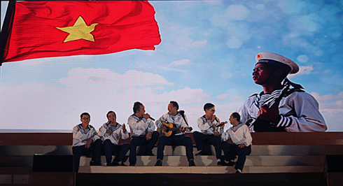 Images of naval soldiers portrayed at music shows.