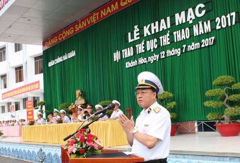 Rear Admiral Pham Xuan Diep speaking at opening ceremony.