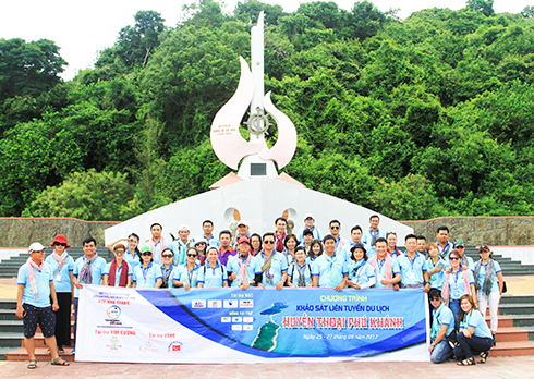 VTF's survey group at historical monument No number boat in Vung Ro