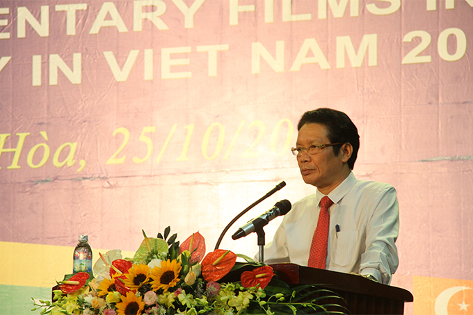Hoang Vinh Bao, Deputy Minister of the Ministry of Information and Communications delivering speech at opening ceremony