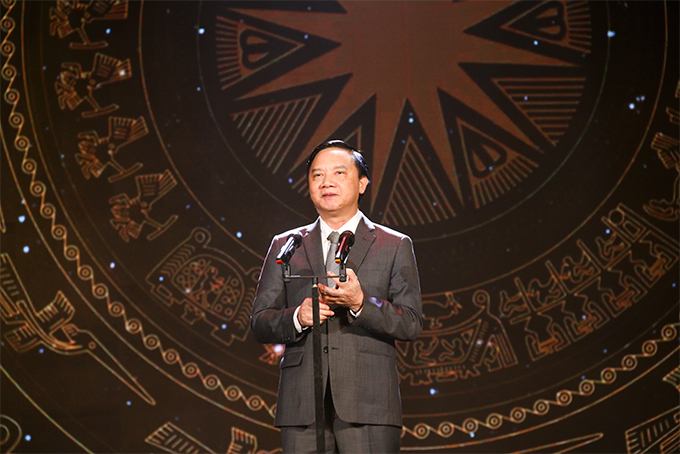 Nguyen Khac Dinh speaking at 2019 National Television Festival opening ceremony