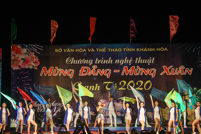 Music and fireworks show celebrating Lunar New Year 2020 in Nha Trang