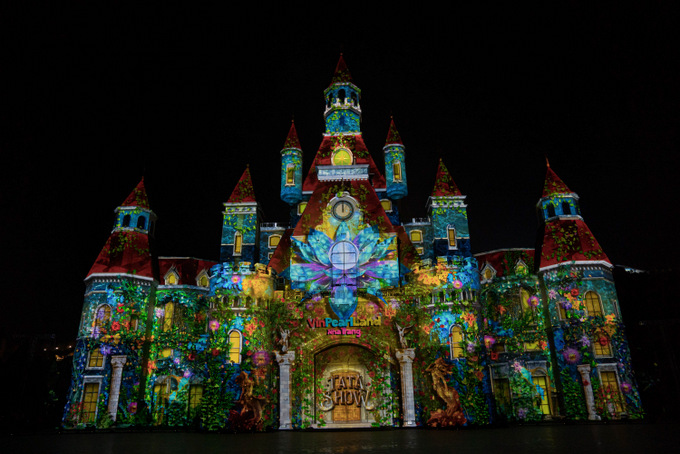Animations using 3D projection mapping technology are projected onto the façade of castle at Luminary Square in Vinpearl Land Nha Trang