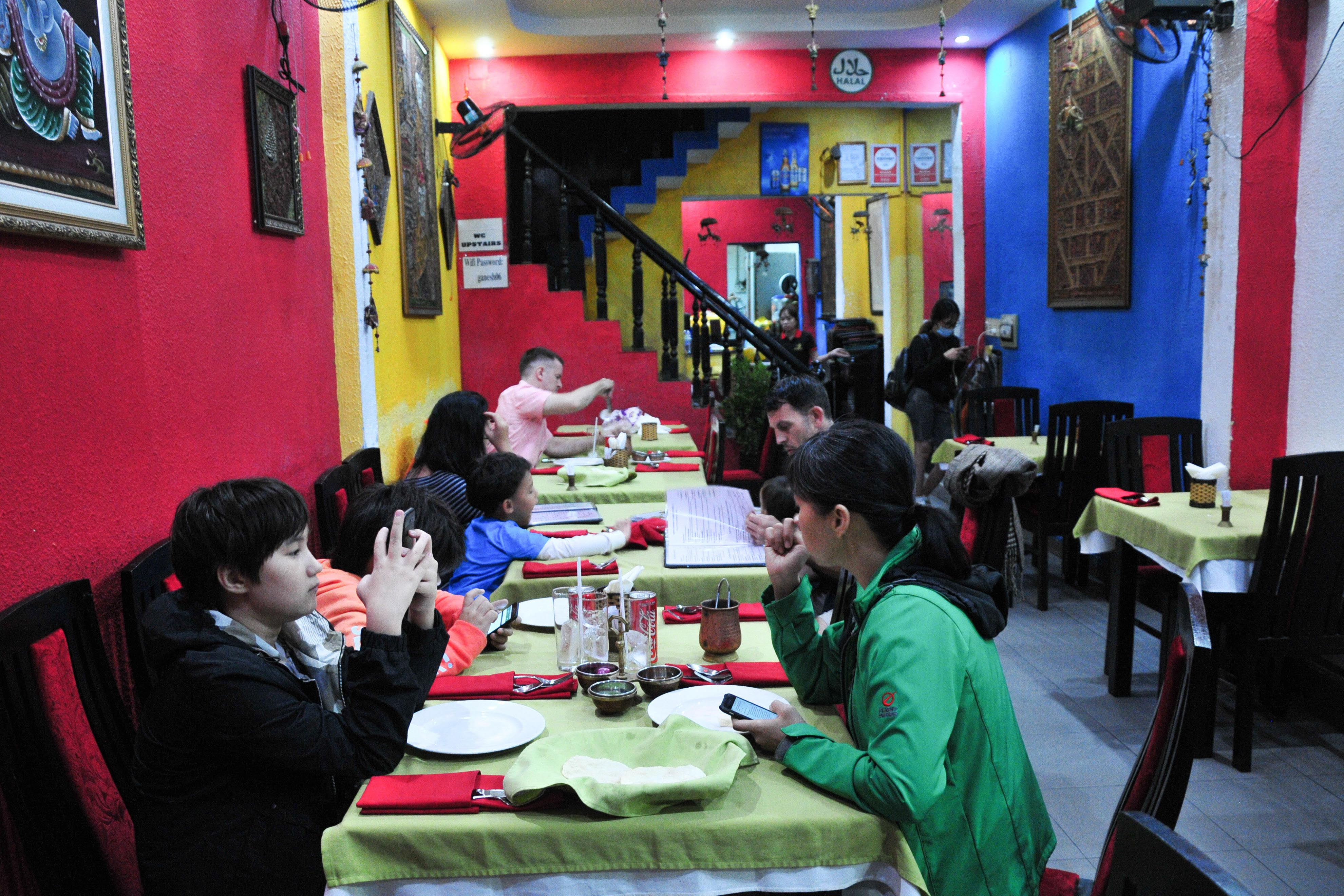 People having meal at a restaurant