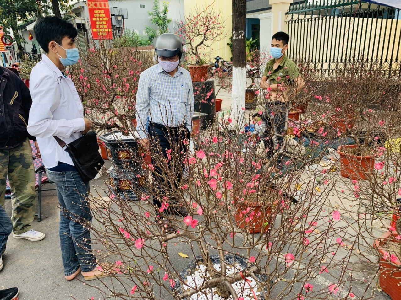 People shopping for Tet flowers