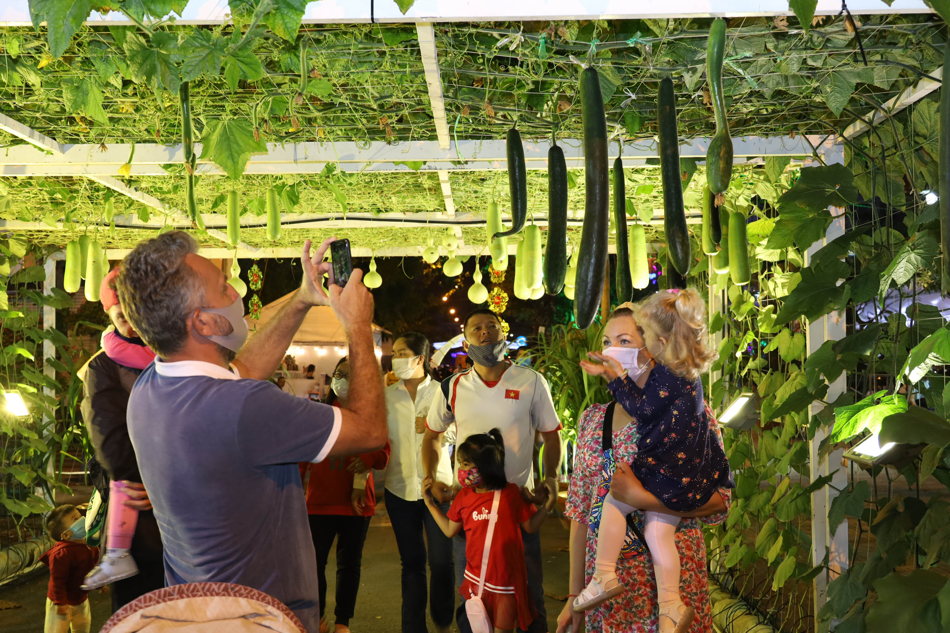 Foreign tourists visiting Spring Flower Festival