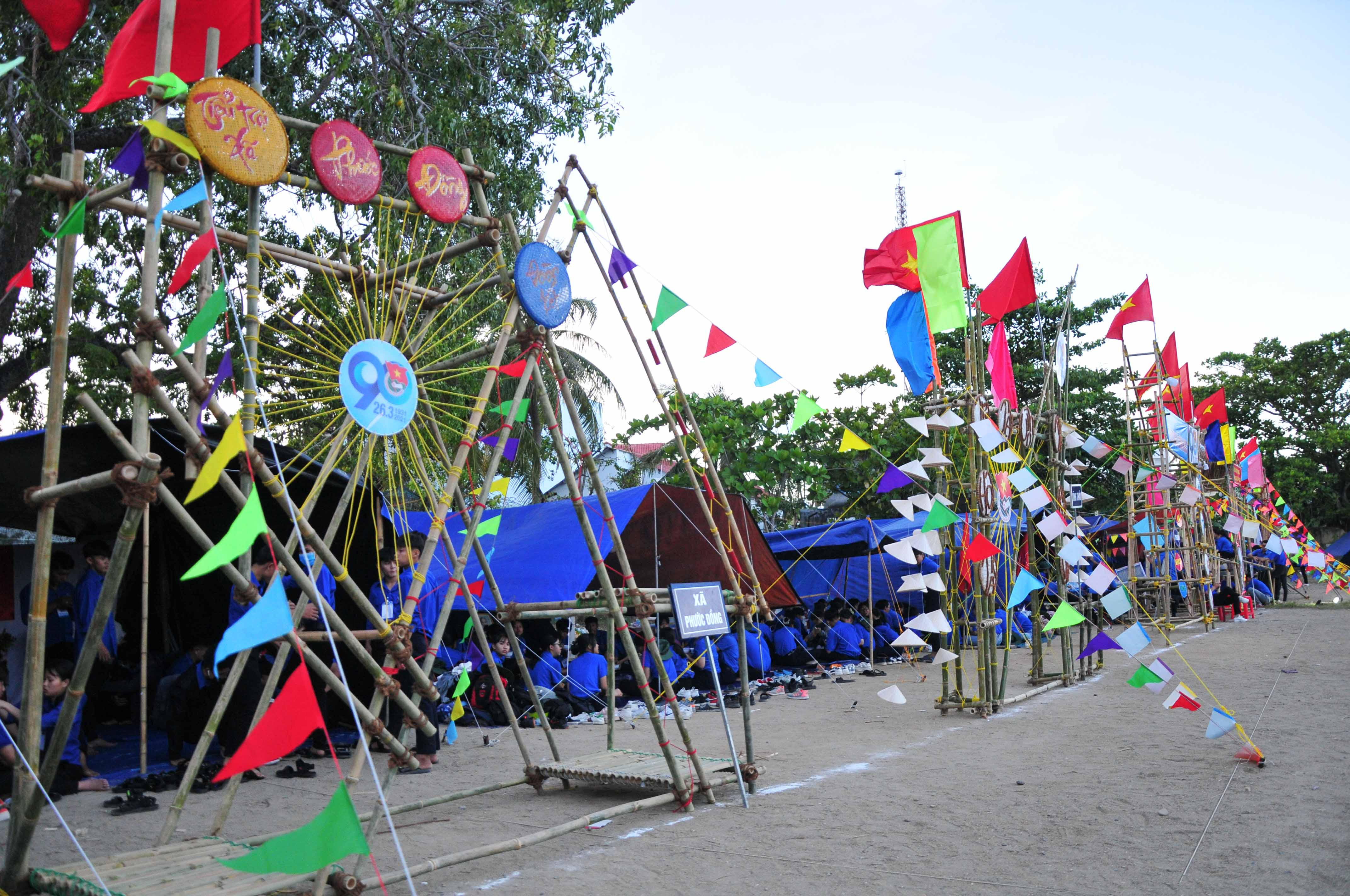 Tents with colorfully-decorated gates