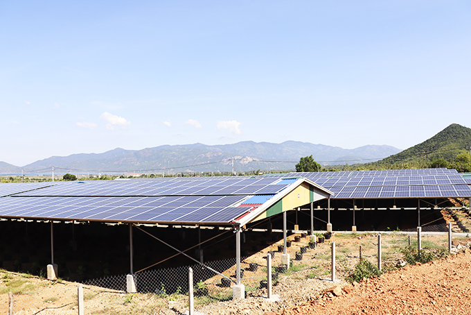 A farm with rooftop solar power in Cam Thinh Dong Commune, Cam Ranh, Khanh Hoa