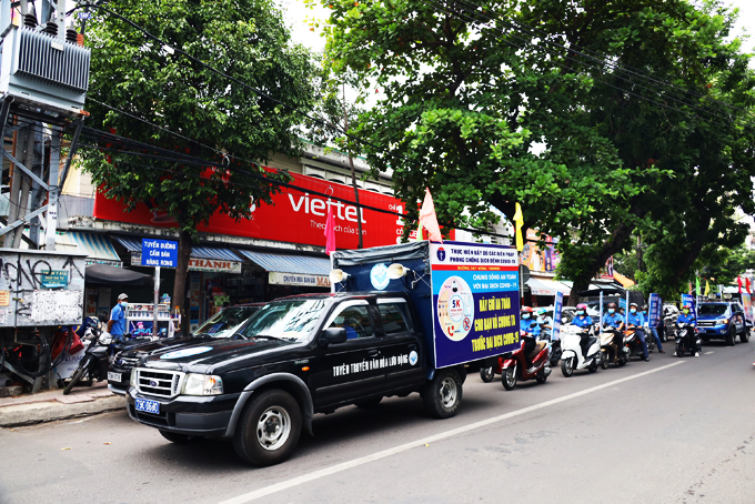 Propagation cars and motorbikes of Khanh Hoa's Center of Culture and Cinema (Photo: taken in early July)