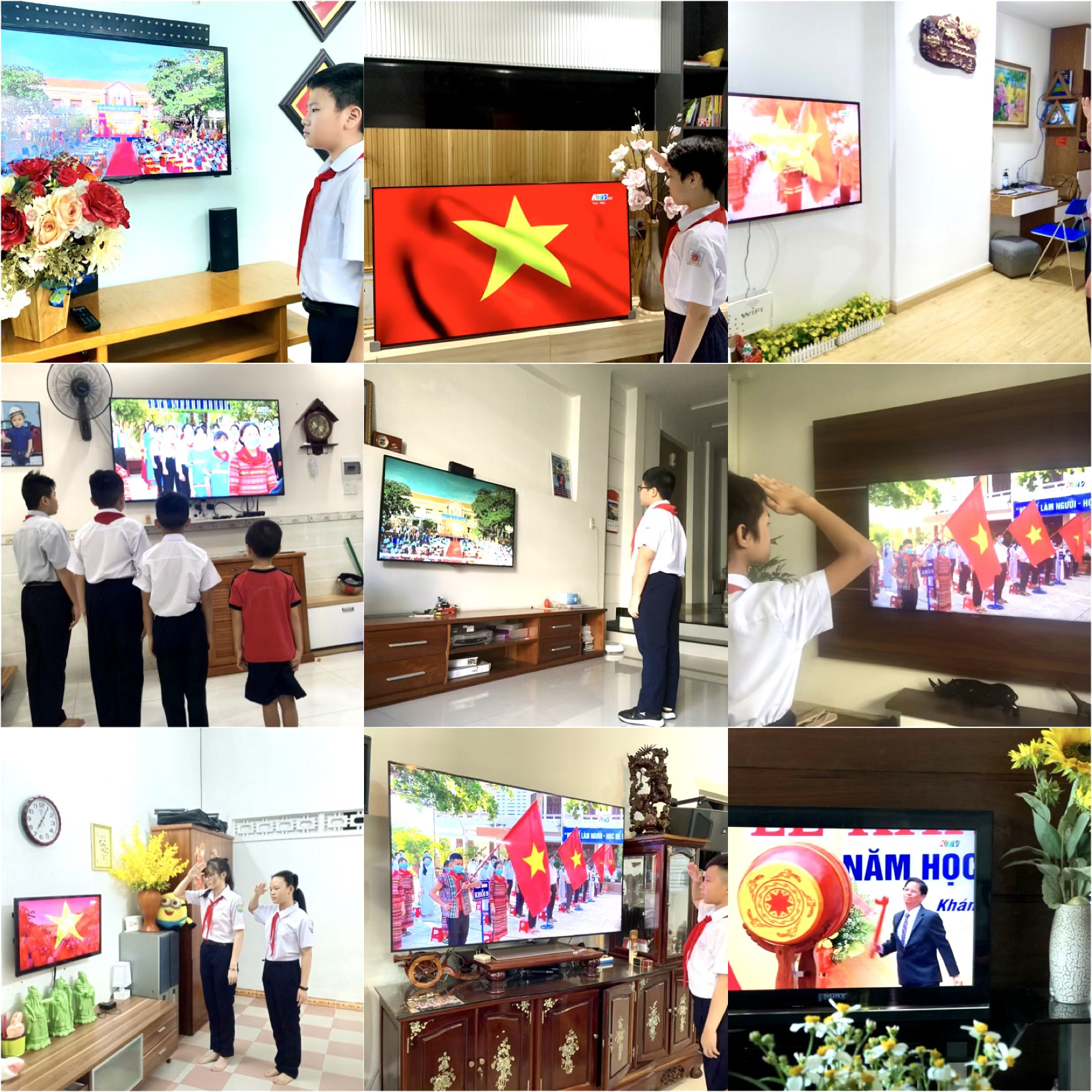 Students of Nguyen Hien Junior High School attending opening ceremony via television (Photo: Hong Minh)