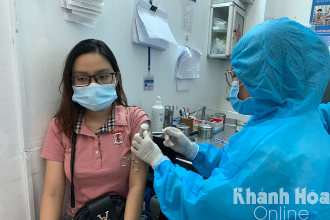 Getting vaccinated in Nha Trang City.